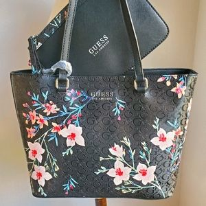 Guess Black Floral Tote Bag and Wristlet Set